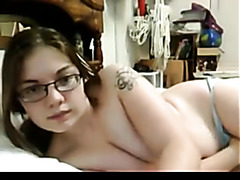 Legal Age Teenager with Glasses on Webcam